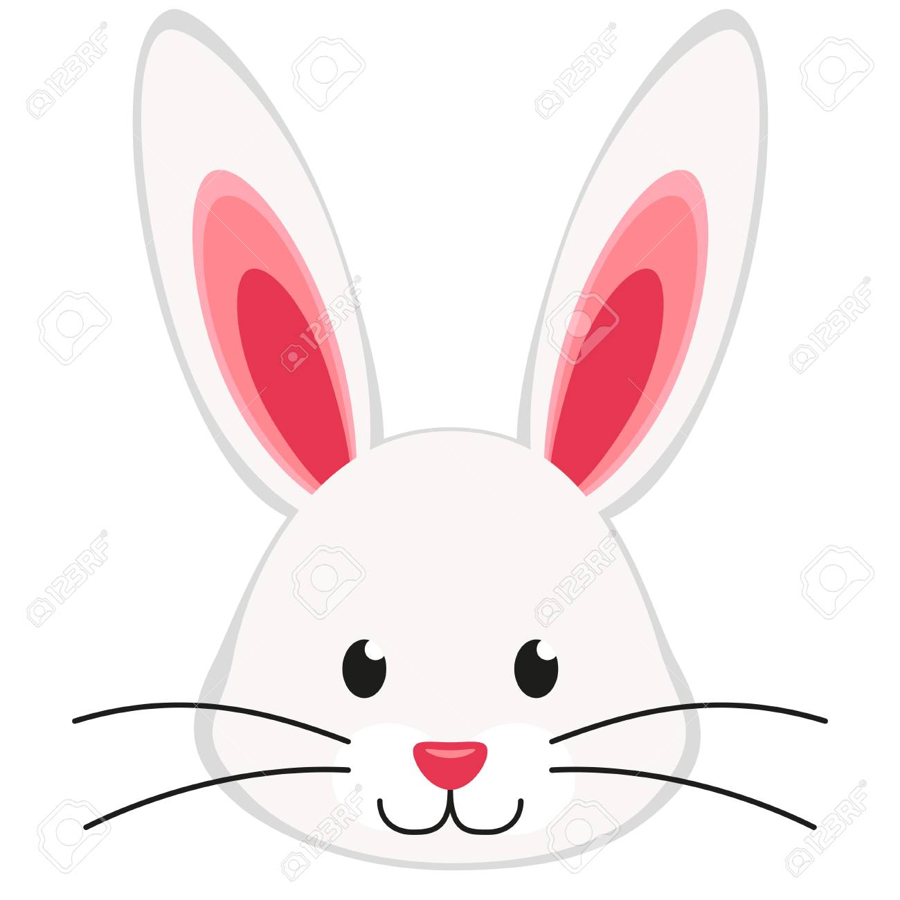 Cartoon bright colorful rabbit bunny face icon poster. Easter...