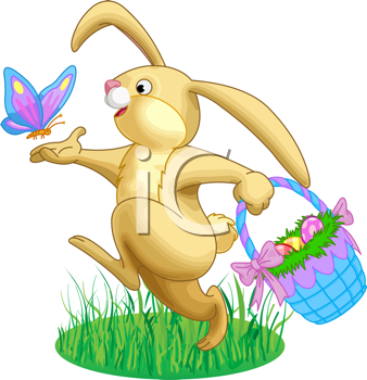 Royalty Free Clipart Image of the Easter Bunny Carrying a.