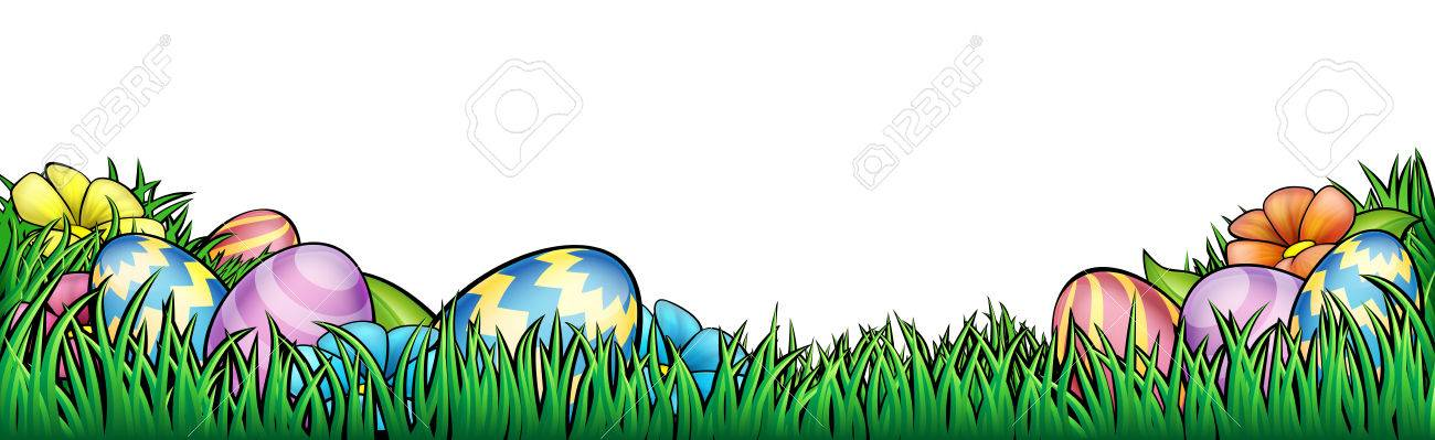 An Easter egg hunt Background border frame or footer graphic.
