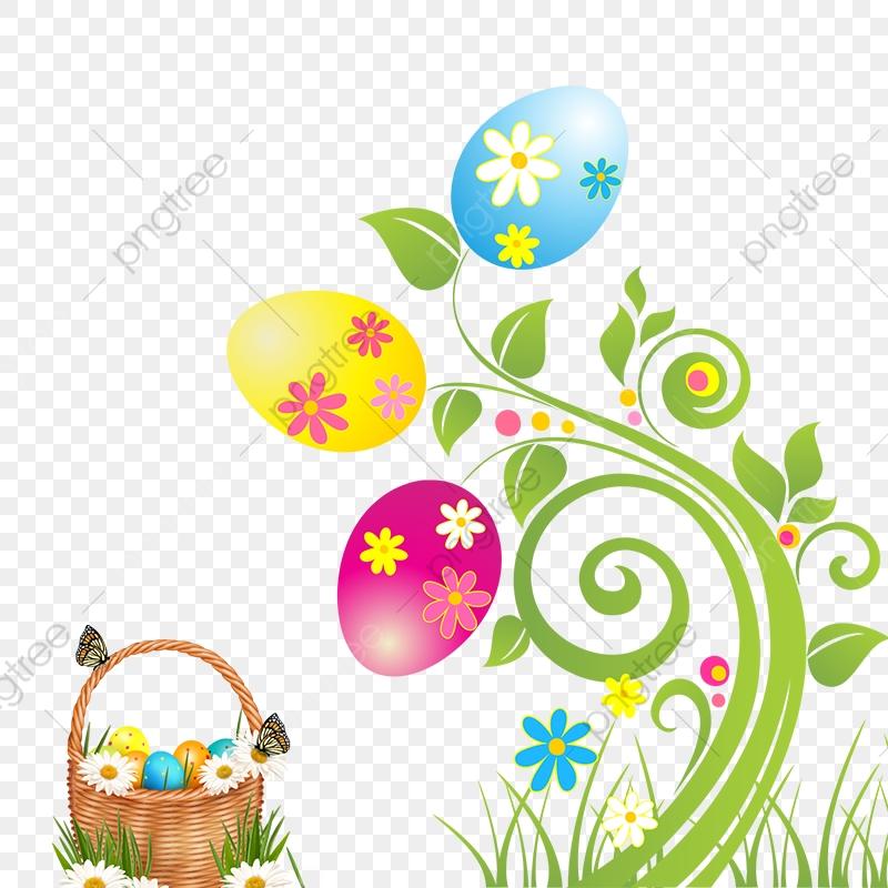 Easter Flowers And Basket, Easter Flowers, Basket, Eggs PNG.