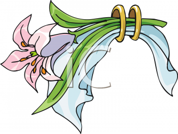 Royalty Free Clip Art Image: Pink Easter Lily.
