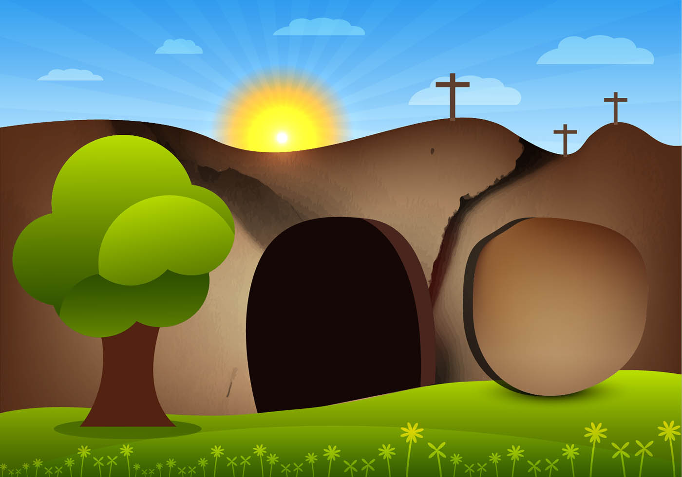 Jesus Empty Tomb Free Vector Art.