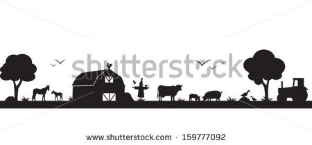 farm scene clipart black and white.
