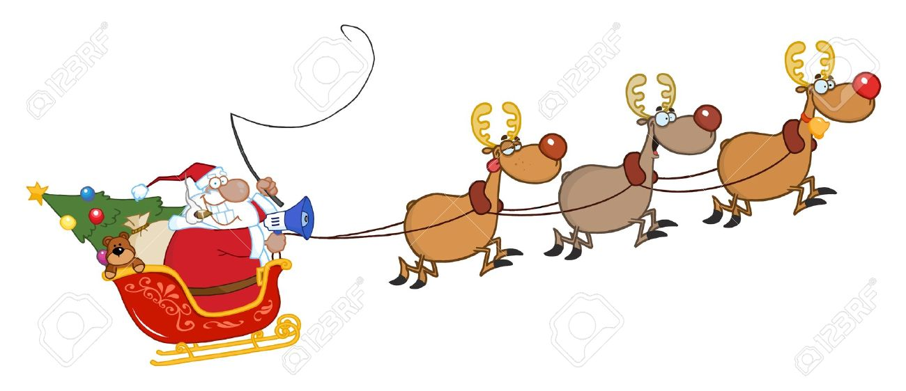 African American Santa Claus And Team Of Reindeer In His Sleigh.