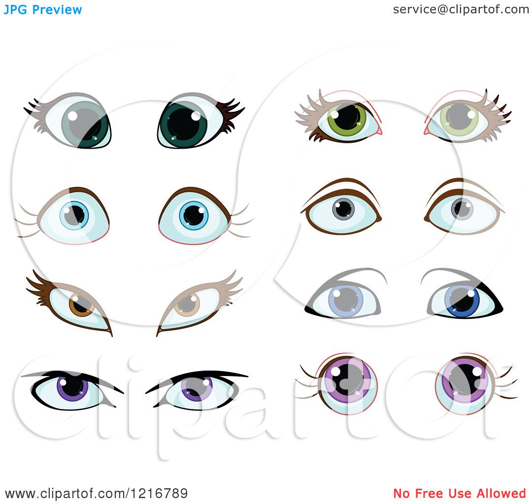 Clipart of Pairs of Female Eyes.