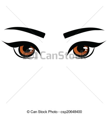 Vector Clipart of brown female eyes.