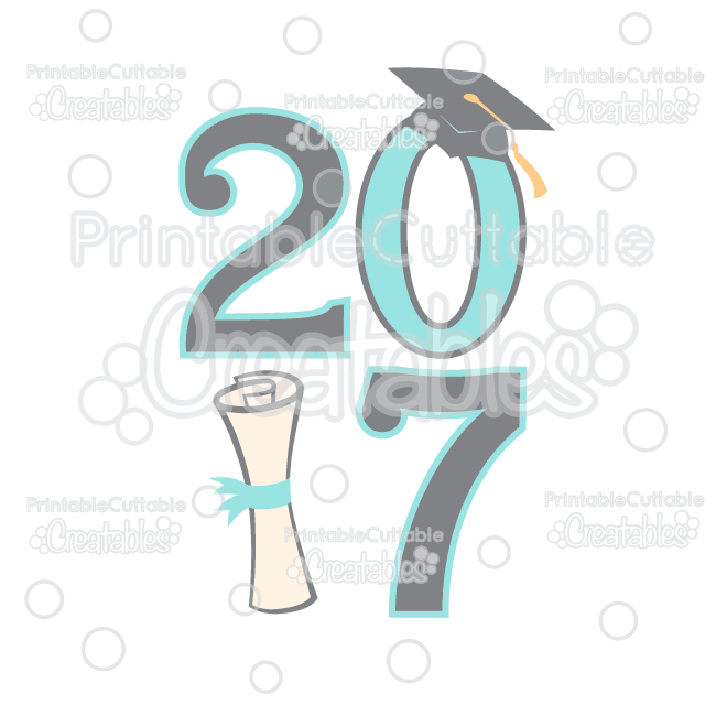 Graduation 2017 Free SVG File & Clipart for Silhouette Cameo.