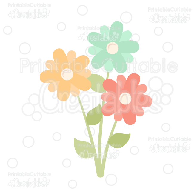 Spring Flowers FREE SVG Cut File & Clipart Silhouette Cameo.