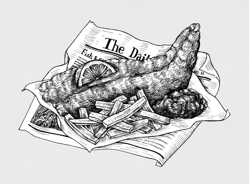 Fish Chips Stock Illustrations.
