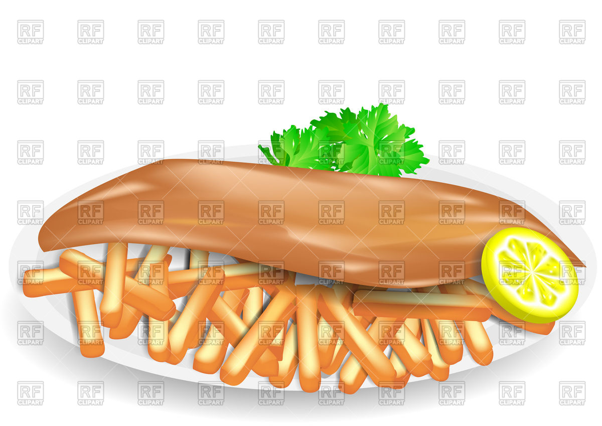 Fish and chips on plate Stock Vector Image.
