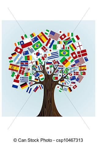 Vector Clip Art of Flags of the World tree: countries participants.