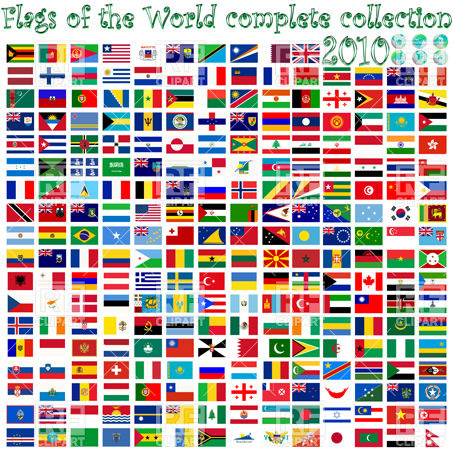Flags of the world and earth globes Vector Image #10816.