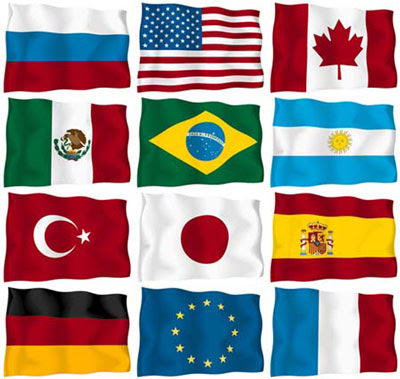 Clipart flags of the world.