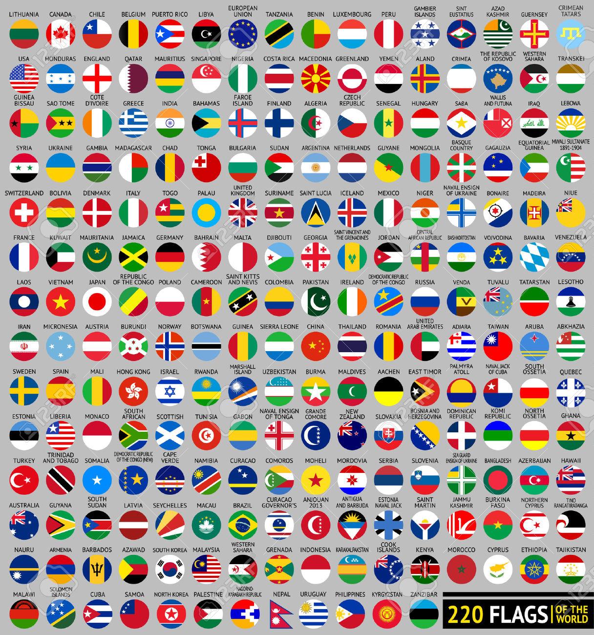 220 Flags Of The World, Circular Shape, Flat Vector Illustration.