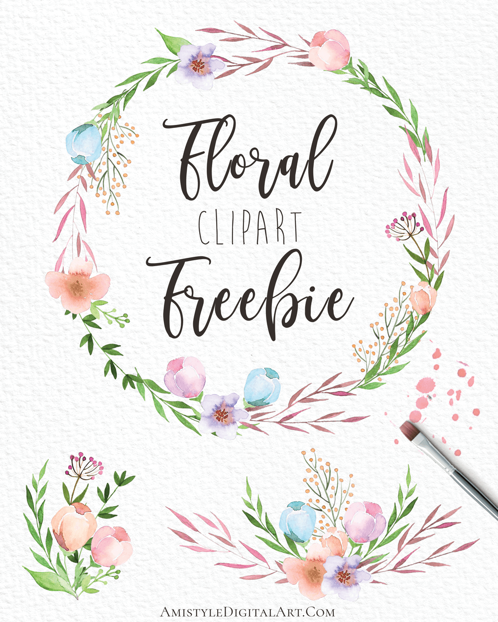 3 Free Floral Cliparts.