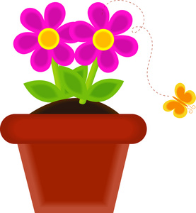 Flower Pot With Flowers Clipart.