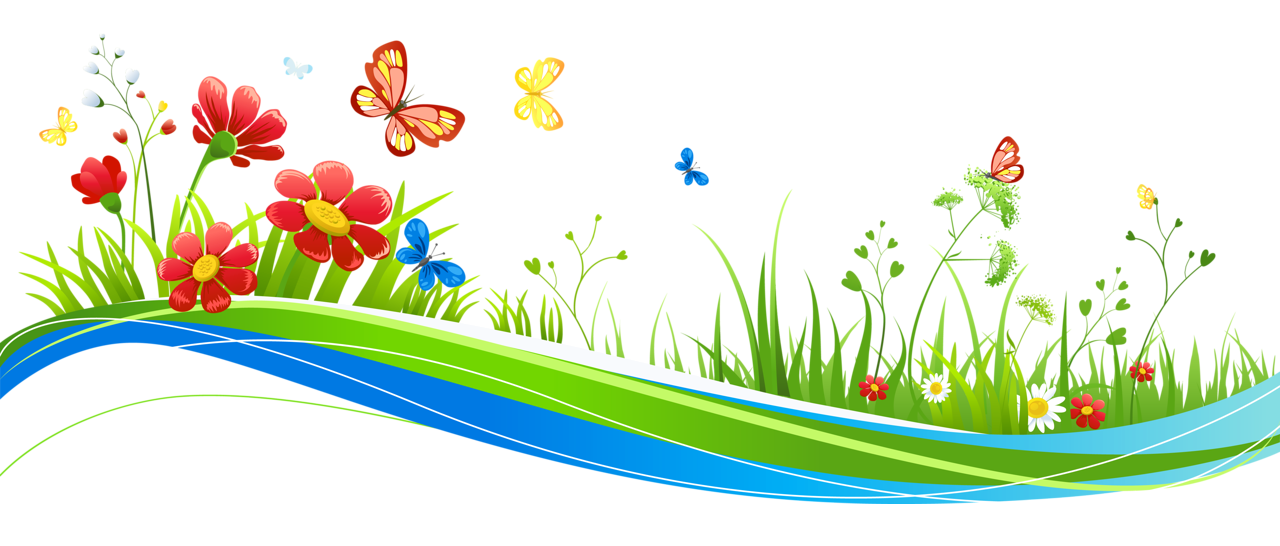 Transparent Decoration with Flowers and Butterflies PNG.
