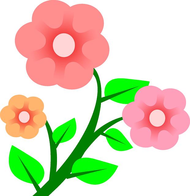 Three Plants Flower Flowers Cartoon Border Pink.