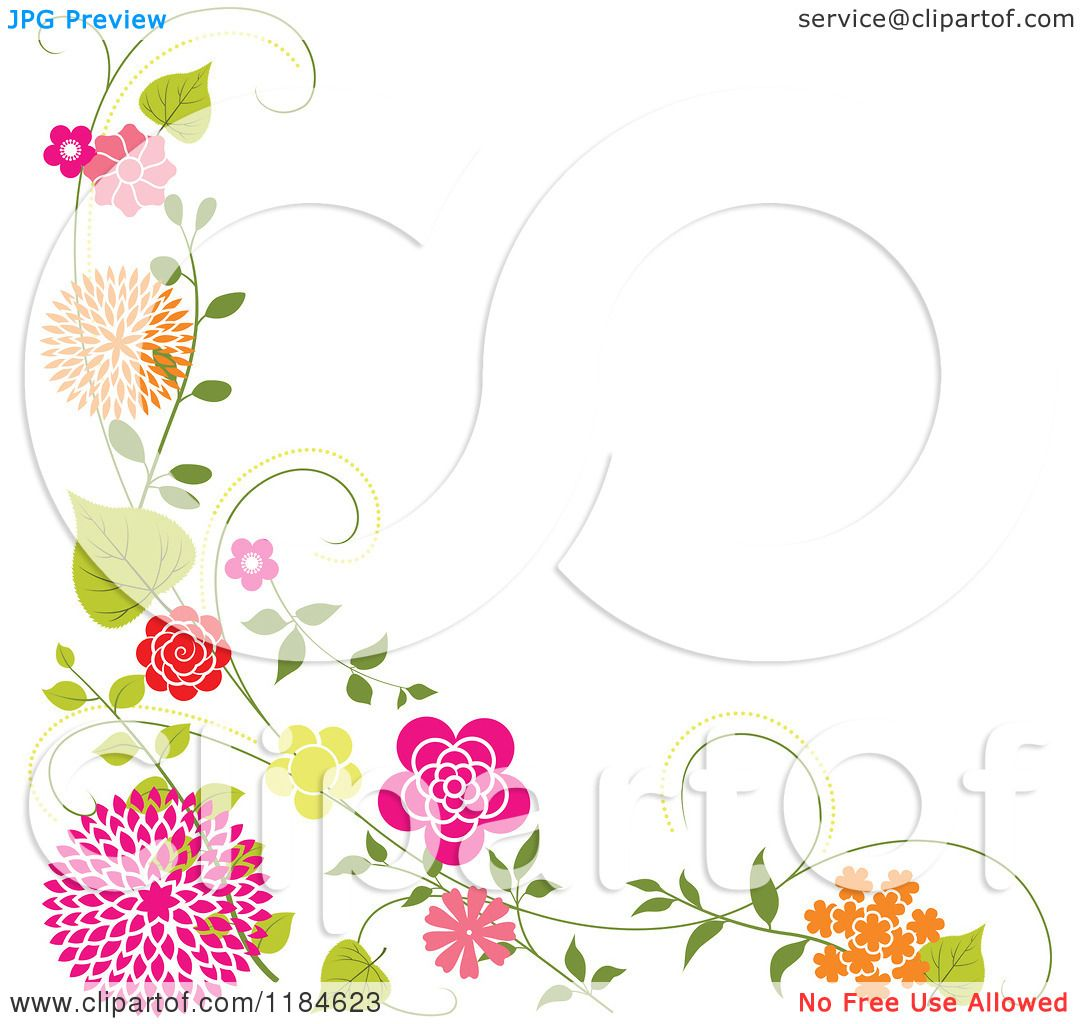 Clipart of a Floral Corner Border with Orange and Pink Flowers and.
