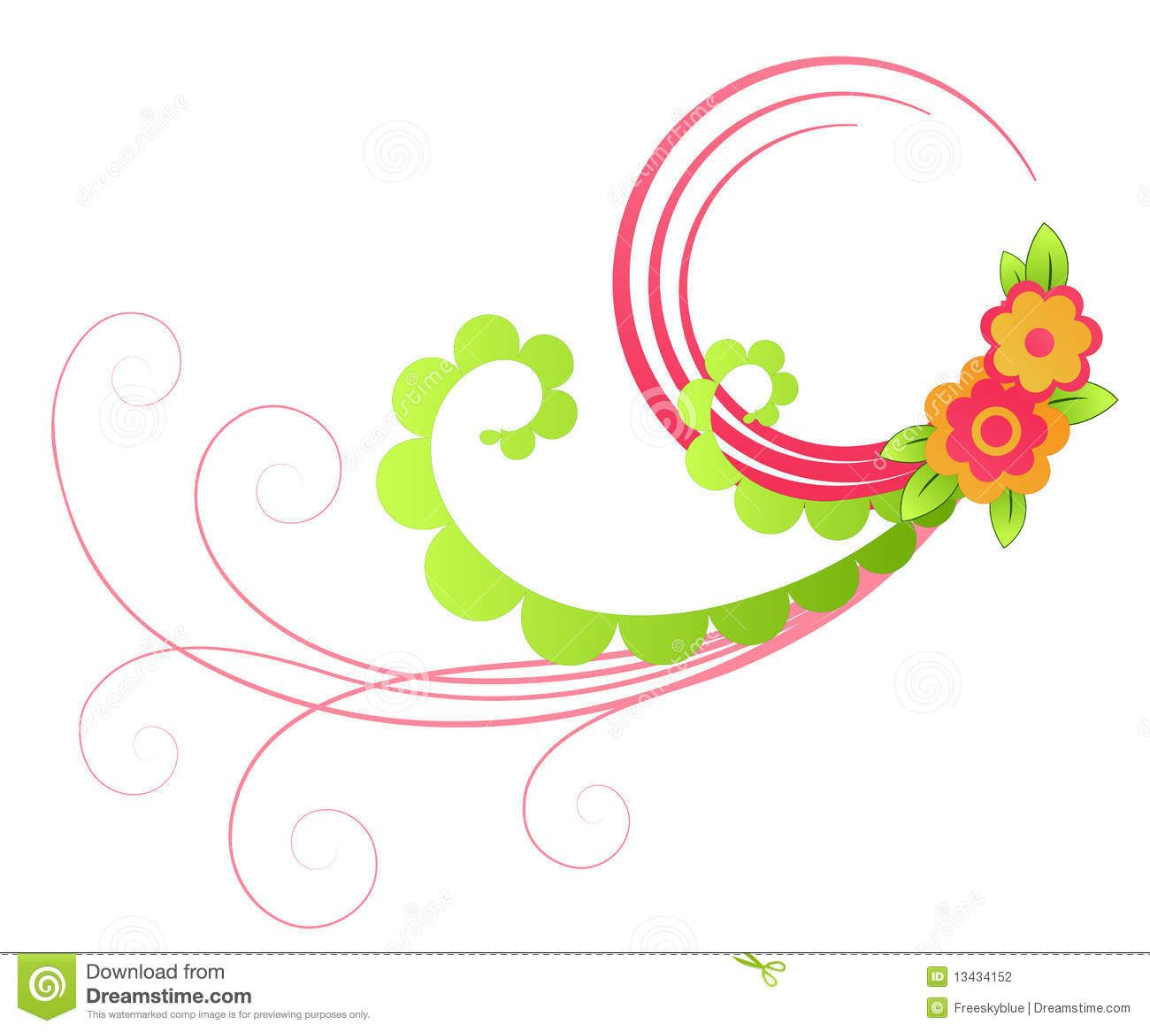 Free Clip Art Flowers And Vines : Color Flower And Vines Pattern.