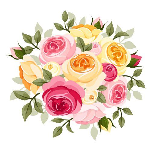 Elegant flowers bouquet vector 04.