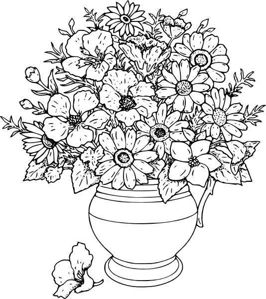 Vase Of Wild Flowers clip art Free vector in Open office drawing svg.
