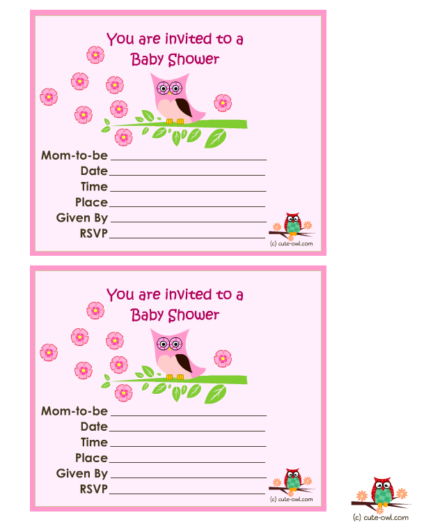 11 Free printable Owl Baby Shower Invitations.