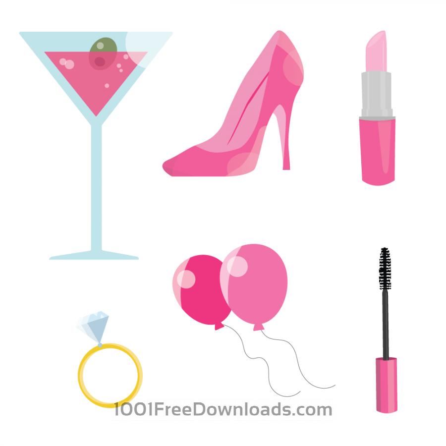 Free Vectors: Pink Bachelorette Party.