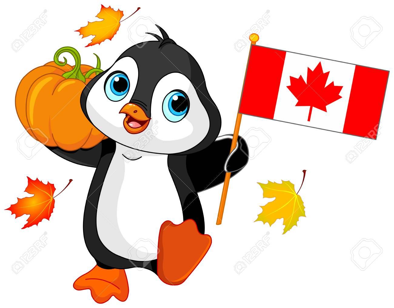 Illustration of Penguin celebrating Canadian Thanksgiving Day.