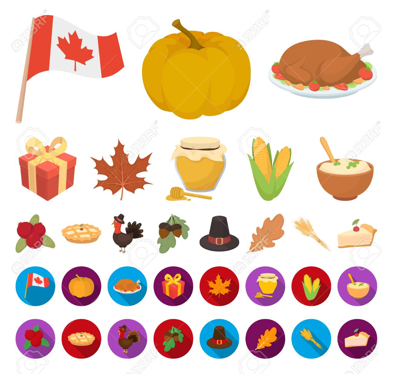 Canada Thanksgiving Day cartoon,flat icons in set collection...