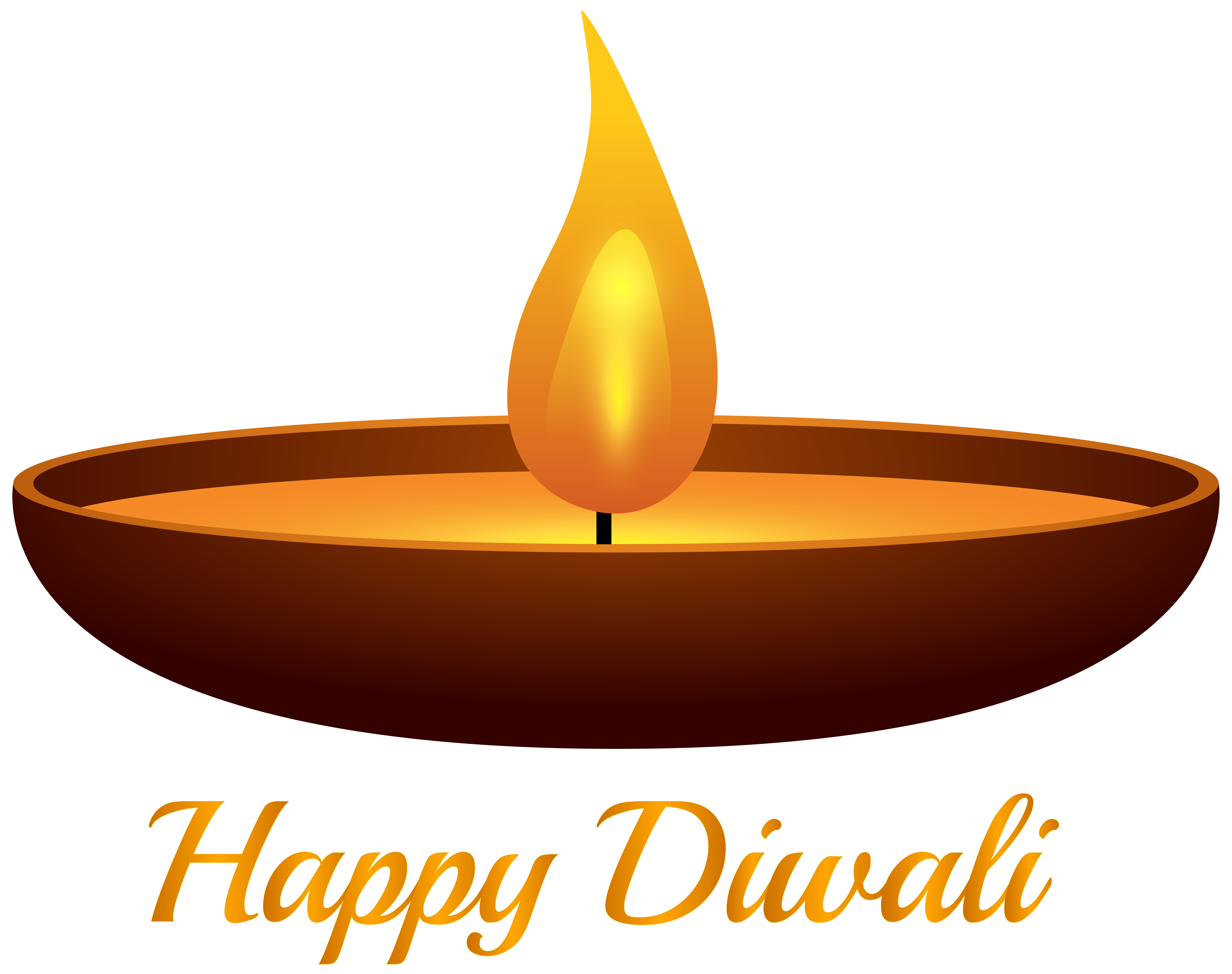 Happy Diwali Candle PNG Clip Art Image.