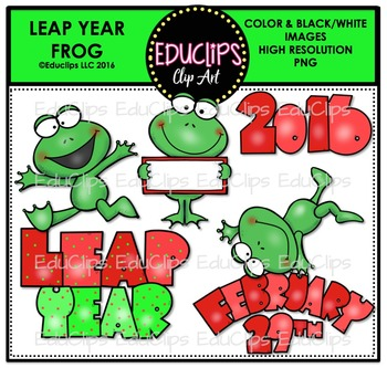 Leap Year Frog Clip Art Bundle FREE.