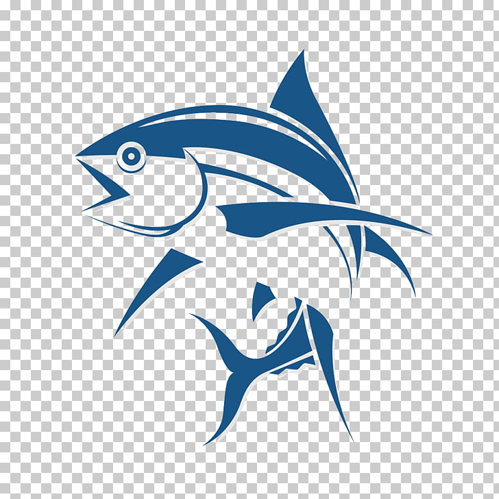 Logo Fishing Tuna, Fish cartoon logo design , blue fish logo.