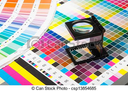 Pictures of Color management in print production.