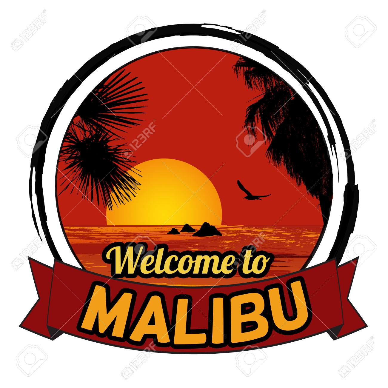 Welcome To Malibu Concept In Vintage Graphic Style For T.