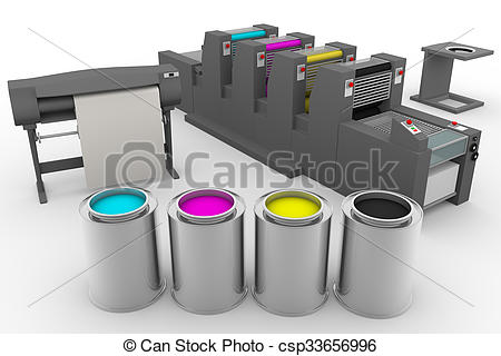 Stock Illustration of CMYK print production process.