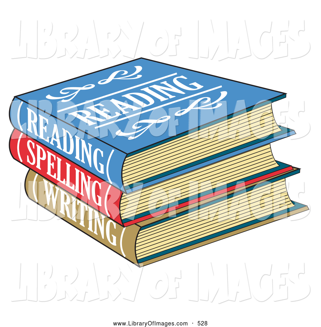 Clip Art of a Stack of Colorful Reading, Spelling and Writing.