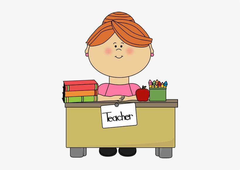 Desk Clipart Cartoon Teacher.