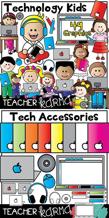 Technology Kids with Mac / Apple Clipart.