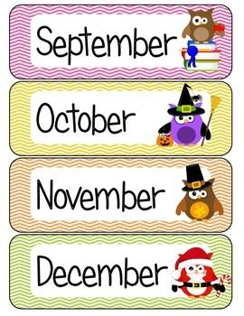 Months of the Year Owl Theme.