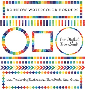FREE Rainbow Watercolor Border Clip Art.