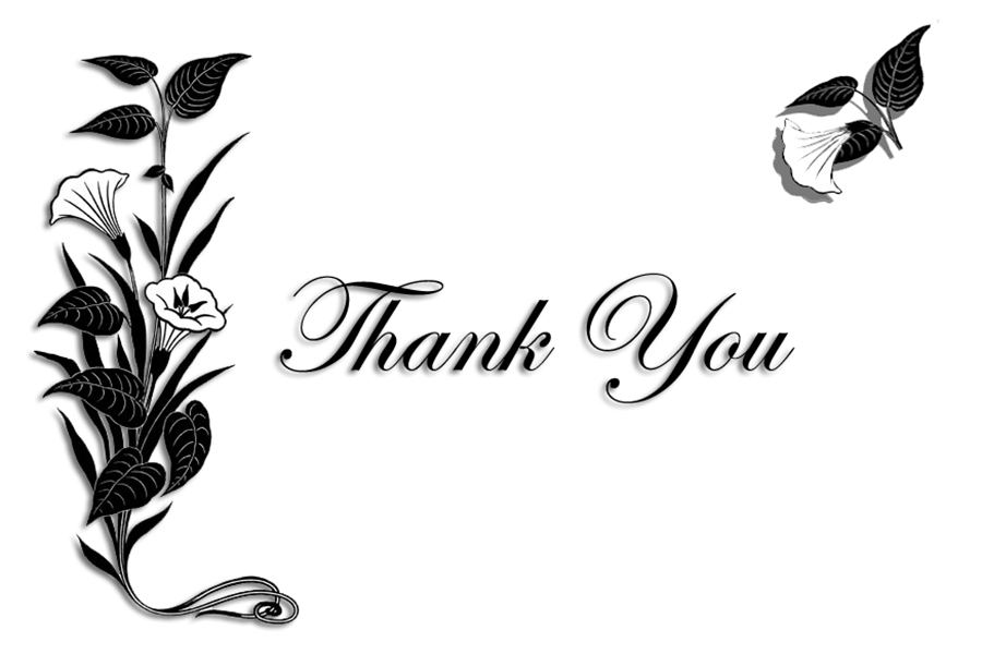 Thank you black and white free clipart for thank you cards.