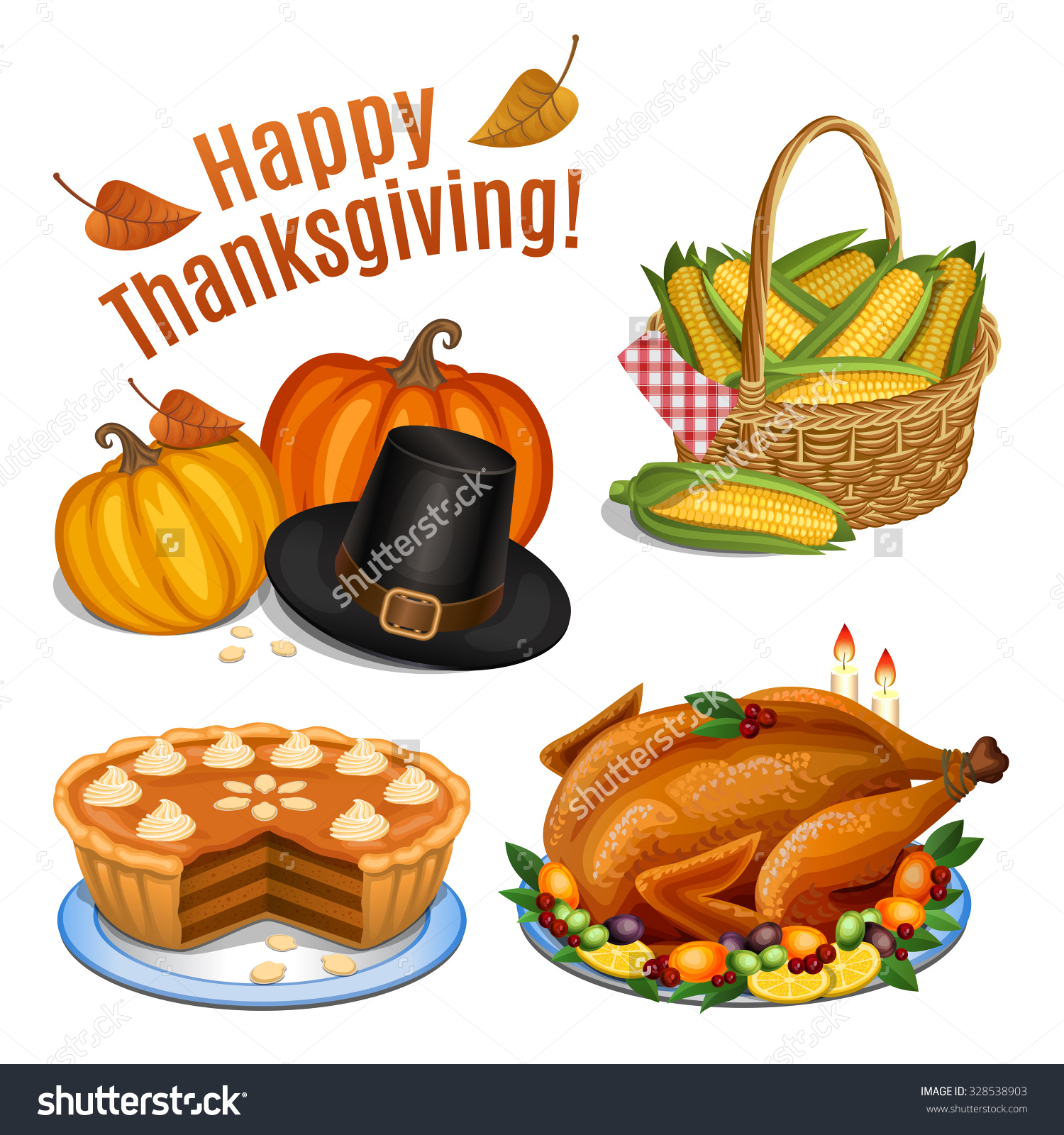 Set Cartoon Icons Thanksgiving Dinner Roast Stock Vector 328538903.