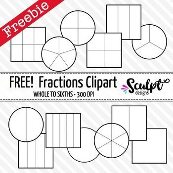 Fractions Clip Art ~ FREE! Black & White Outlines.
