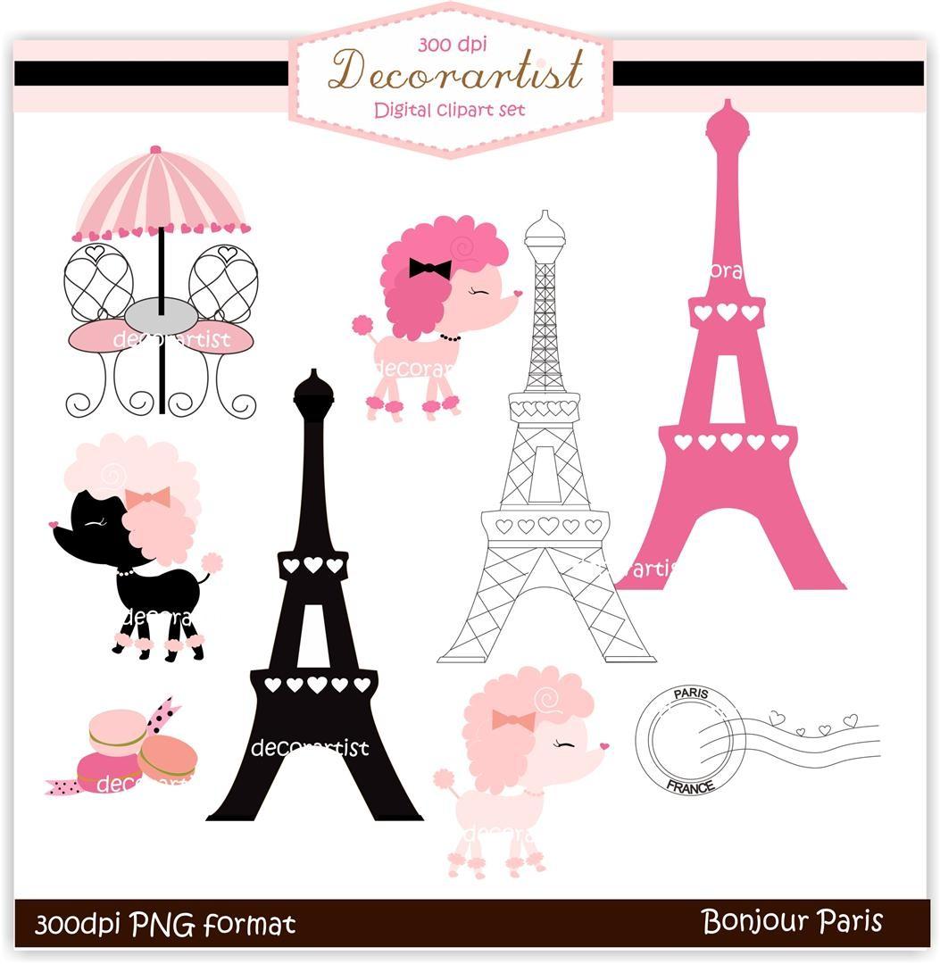 clipart , French poodle digital clipart, bonjour Paris, french.