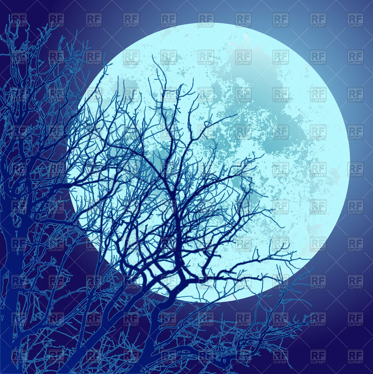 Tree and full moon Stock Vector Image.