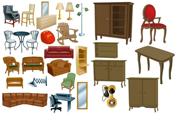 A variety of furniture furniture clip art Free vector in.