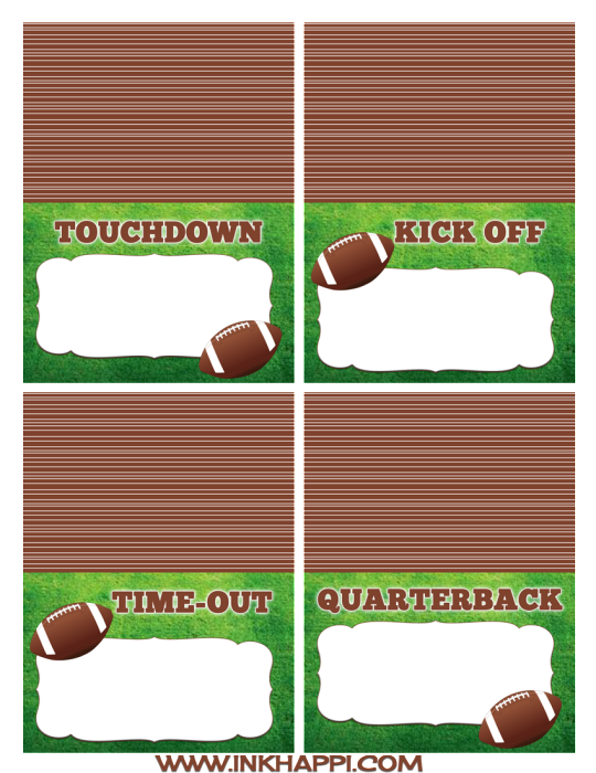 Football free printables for the food table and more.