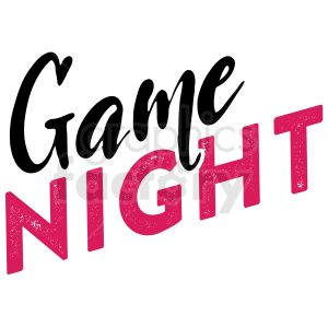 game night typography vector art clipart. Royalty.