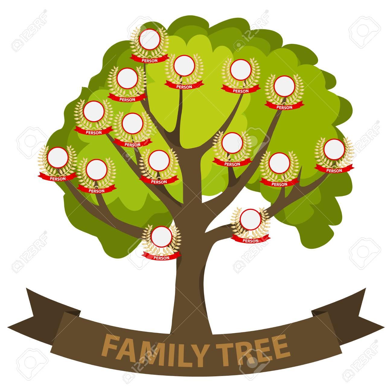 Genealogy tree, family tree with family members. Flat design,...